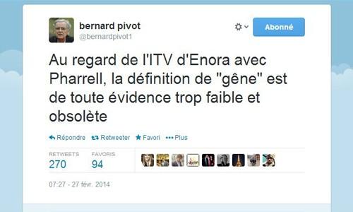 Tweet de Bernard Pivot