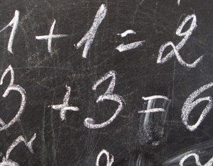 Mathematical decision on the school Blackboard.