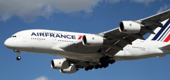 Los Angeles, USA - January 28, 2013: Airfrance Airbus A-380 lands at Los Angeles Airport on January 28, 2013. The plane is the world's largest passenger airliner and seats 525 people.