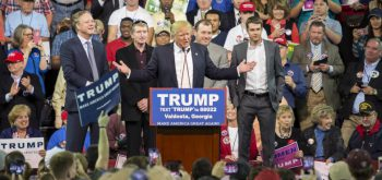 Valdosta, GA, USA - February 29, 2016: Donald Trump, Nascar CEO Brian France, Nascar drivers Ryan Newman,  Bill Elliot, and son Chase Elliott endorsing Donald Trump the Republican 2016 presidential candidate.